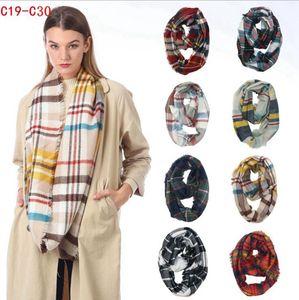 Plaid Ring Scarf 12 colores Infinity Shawl Wrap Loop Scarf Knitting Multi-function Pañuelo en la cabeza Mujeres Neckchief LJJO7150