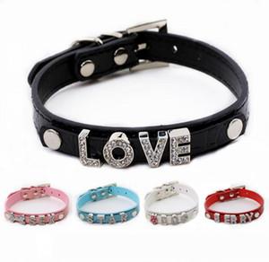 PU-Leder, Eigene, Personalisierte Hundehalsbänder für 10 mm Buchstaben und Charme (5 Farben 4 Größen)