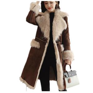 Hiver Femmes Manteaux De Laine Faux Agneaux Femme Moyenne Longue Épaisse Chaud Manteaux En Peau De Mouton Faux Daim En Cuir Vestes