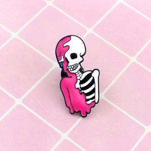 Esqueleto Rosa Branco Assustador Esmalte Especial Dos Desenhos Animados Preto Broche Creative Lapels Denim Distintivos Presentes Caseiros Pins Caseiros