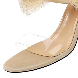 sandali delle donne pantofole tacchi alti estivi piedi nudi con pizzo fiocco sandali delle donne eleganti e ciabatte