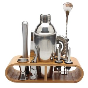 12pcs / set 750ml / 550ml Barra de coctelera de acero inoxidable Set Barware Set Shaker Set con estante de madera D19011702