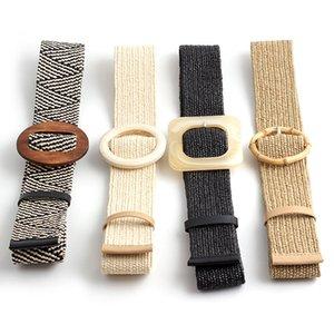 Cintura elastica Button 4,8 centimetri Donne intrecciato Round Square fibbia della cintura moda Cintola bambù fibbia di legno Jade