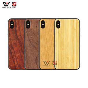 Legno Case for iPhone X 6S 7 7 più 8 più la cassa di cellulare dura del PC vuoto solido reale natura del telefono caso di legno Smartphone