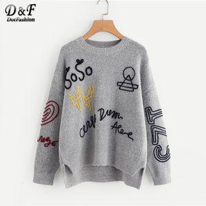 Dotfashion gris trenzado bordado escalonada Hem Mujeres Suéteres 2019 Otoño Vestimenta de manga larga de gran tamaño suéter JumperMX190926