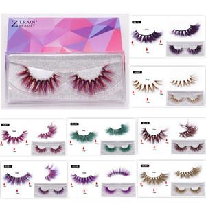 Buntes 3D Nerz Wimpern Make-up Starke Wimpern Kreuzen Natürliche Lange Falsche Wimpern Bühnenshow Gefälschte Wimpern mit Verpackungsbox