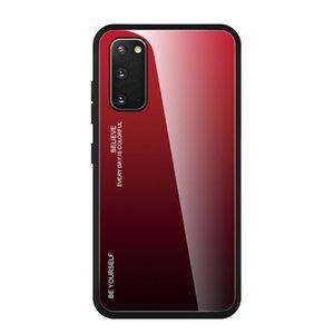 Patrón de mármol cubierta de fibra de carbono para Samsung S20 S10 Plus Ultra brillante gradiente de colores de cristal templado caso para Sam NOTA 10 A20 A71 A51 M3