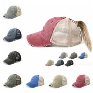 Washed Vintage Dyed Baseball Cap ponytail Unisex Classic Plain outdoor mesh hats travel fashion Snapback party favor FFA4078-6