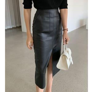 Юбки женская искусственная кожаная юбка с высокой талией Slim Split