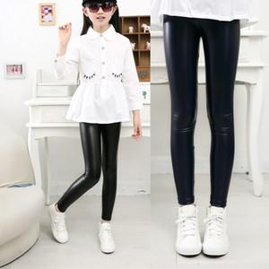 Yeni Çocuklar PU Deri Pantolon Tayt Giyim Bebek Kız Sonbahar Legging Çocuklar Sıcak İnce İnce Pantolon