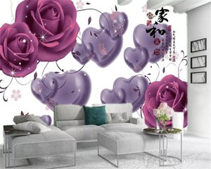3d Room Wallpaper Custom Photo Purple Love Romantic Rose Home Decor Living Room Bedroom Wallcovering HD Wallpaper