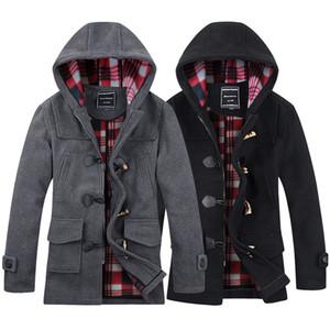 2015 botón de alta calidad de invierno de los hombres de lana abrigos Horn informal sobretodo de la manera hombres de la capa de lana chaqueta rompevientos chaquetón para el hombre
