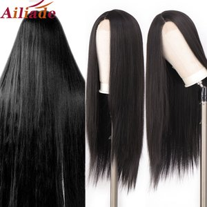 AILIADE 30 Inch Long Silk Straight Synthetic Small Lace Front Wig High Temperature Black Middle Part Wigs for Women Cosplay Wig