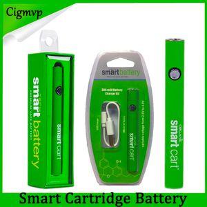 Новейшая смарт-корзина Аккумулятор Vape 510 Резьбовые картриджи 380 мАч Переменное напряжение предварительного нагрева Батареи Smartcart с USB-зарядным устройством Evod Law
