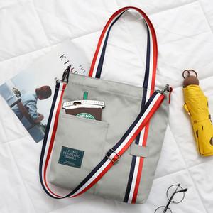 Туманный Beauty Solid Color Женщина Холст Ткань хозяйственная сумка Черный Белый одного плеча многоразовый Eco Bag Девочка большой емкости Book Bag SH190924