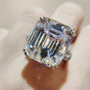 White Dove Egg Big Topaz CZ diamant luxe Bijoux 925 Type en argent sterling Astie Promise Eternity femmes de soirée de mariage Bague cadeau