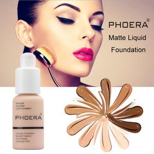 Face Makeup Primer PHOERA Matte Oil-control Liquid Foundation 10Colors Concealer Soft Matte Long Wear Concealer Foundation