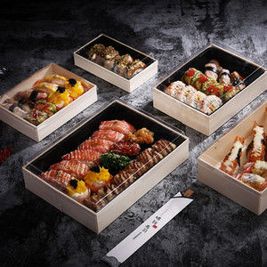 Disposable Wood Lunch Box Japanese Sushi Case Salad Wrapping Food Container Sashimi Tempura Foldable Wood Boxes Packing Tools T200629