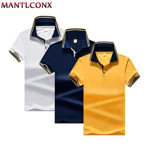 MANTLCONX летняя мода сплошной цвет поло Мужчины повседневная рубашка с коротким рукавом мужской Гольф теннисная рубашка мужчины плюс размер