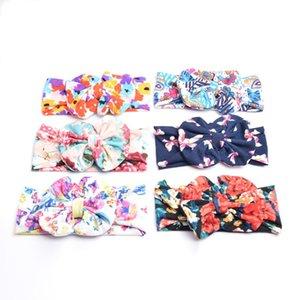 Bebê Bow Flower Headbands Bohemian Hairbands Crianças de impressão grande da curva Bebés Meninas elegante cabelo Enrole HHA11327-1