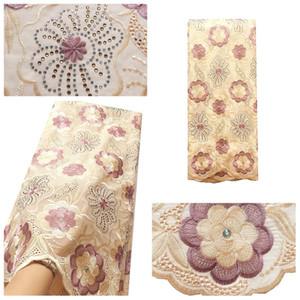 Cotton-Spitze-Gewebe-Qualitäts-Schweizer Voile-Spitze mit Steinen 2020 Neueste afrikanische Spitze-Gewebe für Wedding Dress 5Yards