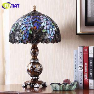 Fumat European Creative Tischlampen Licht Buntglas Wisteria Glass Shade Tischleuchten für Wohnzimmer Nacht Art Tischlampe