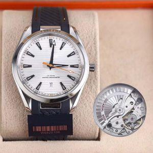 hombre de lujo calientes relojes de alta calidad MAR coaxial 8500 reloj de movimiento automático de 38 mm Dial relojes correa de caucho texturewristwatch Horizontal