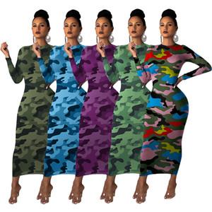 Kadınlar Renkli Kamuflaj Baskılı Seksi BODYCON Elbise 5 Renk Uzun Kollu 2020 Elegant Lady Günlük Elbiseler Orta Buzağı Nightclub Önlük O Boyun