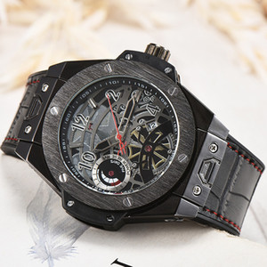 High Quality Watches Men 45mm Hollow skeleton Watch Mens Designer Luxury Leather Straps Wristwatch Male Clock Gift