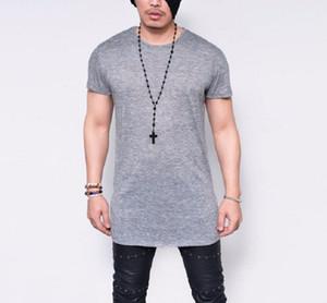Manga curta longa estilo dos homens verão Sólido camisa Preto Branco Cinza Plain T camisas de alta qualidade T dos homens de Hip Hop T Tops