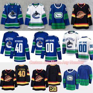 2020 Vancouver Canucks Jersey 40 Elias Pettersson 53 Bo Horvat 6 Brock Boeser 21 Loui Eriksson 20 BRANDON SUTTER Tyler Myers maillots de hockey