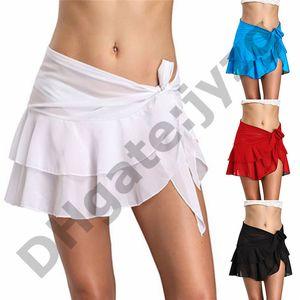 Swimming Sexy Wrap Holiday Sarong Solid Fashion Ruffle Short Cover Up Summer Women Skirt Beach Bikini