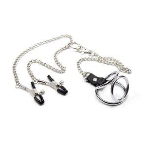 Novo Design Masculino Sex Toy BDSM Fetish Bondage engrenagem Clover mamilo grampos com 3 anéis Penis anel peniano Restraint