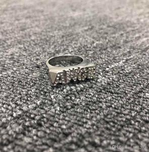 AWGE clássico carta anel anel de dedo ASAP ROCHOSO com ouro e prata ponto de duas cores de perfuração superfície lisa