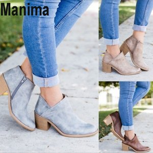 2020 new autumn women's shoes casual retro mid-heel pointed women's boots winter fashion boots spring ankle