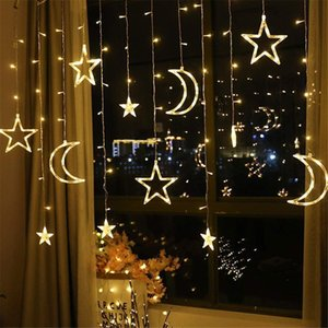 Moon Star Lamp LED Lamp String Ins Christmas Lights Decoration Holiday Lights Curtain Lamp Wedding Neon Lantern fairy light Y200603