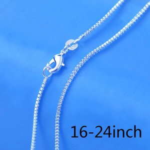 1pcs Top Quality 1.4 MM 925 Silver Box Chain Necklace 16 - 24 inch Woman Wedding Fashion Jewelry Gift + 925 Lobster Clasps Tag