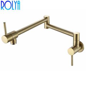 Rolya Brushed Golden Solid Brass Einhand Extended Pot Filler Wasserhahn Schwenkauslauf Wandhalterung Single Cold Kitchen Tap