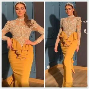 Yellow árabe Aso Ebi Evening Dresss mangas compridas Bainha Prom Dresses Sexy formal partido recepção vestidos baratos