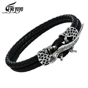 EyeYoYo Lizard браслет мужчины двухслойного черный кожаный подарок способ ювелирные изделия