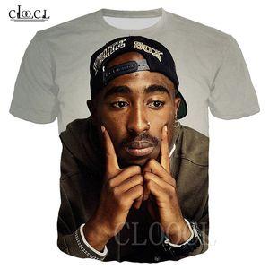 Verão 2Pac Tupac Hip T-shirt Hop 3D Imprimir Tupac Amaru Shakur Rocha Rapper T Shirt Streetwear Oversized Homens Mulheres Camiseta pulôver