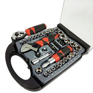 Freeshipping 45 pièces 1/4 pouces et 3/8 pouces d'entraînement Stubby Outils Jeu de douilles Clé Tournevis Auto Repair Tool Combo main un ensemble de