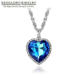 Neoglory coração azul dos presentes Colar Oceano O Titanic para o amor para o Valentim embelezado com cristais de Swarovski