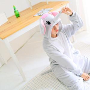 Elefante Cinzento Pijama Para Mulheres Homens Unisexo Animal Adulto Pijama Flannel Onesie Cosplay Roupa De Noite De Halloween