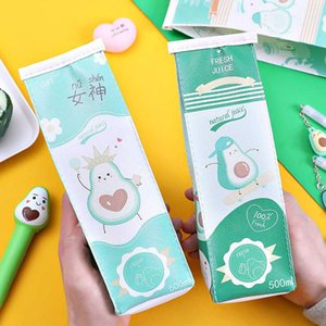 Ellen Brook 1 PCS Kawaii CartoonAvocado PU Pouch Key Chain Coin Purse Wallet Case Pouch Bag School Supplies Gift Pencil Case Bag