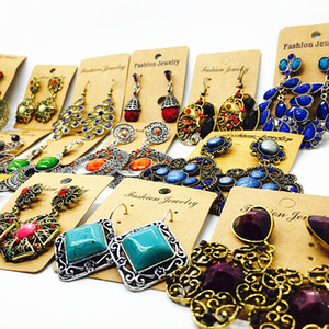 wholesale 10 pairs of women's earrings Fashion Rhinestone Bohemian Style Drop Dangle earrings Jewelry brand new Party Favor