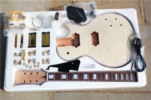 Kit per chitarra elettrica in legno naturale Custom Factory (parti) con corpo in mogano e collo, impiallacciatura di acero di nuvole, fissaggi in oro, chitarra DIY