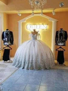 2020 Dubai Arabien Stil Prinzessin A-Linie Brautkleider weg von der Schulter Sparkly wulstige SpitzeApplique Plus Size Bridal Party Kleider Günstige Vestido