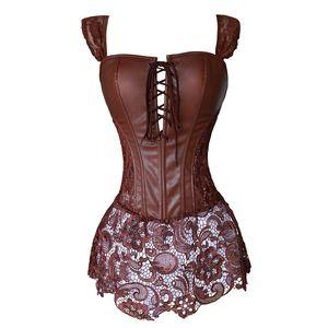 Kunstleder Korsett Kleid Steampunk Zip Korsett Gothic Kleidung Schwarz Kaffee Rot Dessous Sexy Party Outfits S-6xl Plus Größe J190701