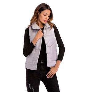 Winter Waistcoat Women Coat Sleeveless White Turn-down Collar Single Breasted Pockets Slim Fit Black JCotton ackets Tops Ladies